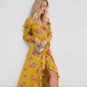 ASOS Long Sleeve wrap maxi Yellow Floral dress
